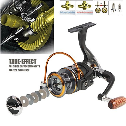 Sougayilang Spinning Fishing Reels with Left/Right Collapsible Wood Handle Powerful Metal Body 5.2:1/5.1:1 Gear Ratio Smooth 11BB for Inshore Boat Rock Freshwater Saltwater Fishing -DK6000