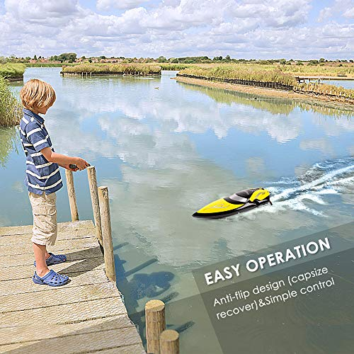 51vB8qBJLDL - Remote Control Boats - SHARKOOL H106 Rc Self Righting Racing Boats for Boys & Girls, 2.4Ghz High Speed Remote Control Boat Toys for Kids Or Adults. (Black)