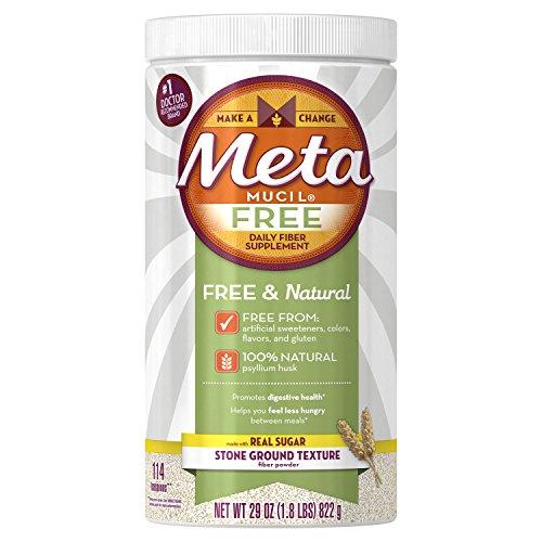 Sugar Free Natural Fiber Supplements (Metamucil Free Daily Fiber Supplement, 100% Natural Psyllium Husk, 114 Dose)