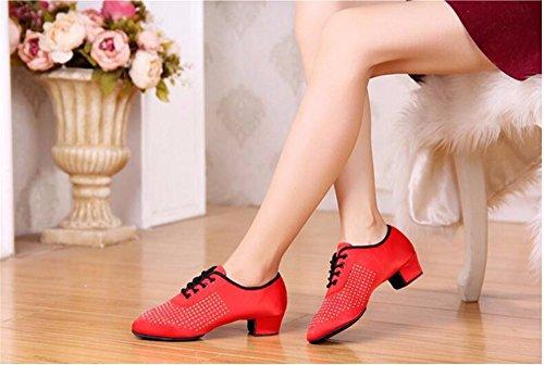 SQIAO-X- Uomini, donne e bambini scarpe da ballo latino scarpe da ballo scarpe di esercizio su terreno morbido e scarpe da ballo, rosso,38