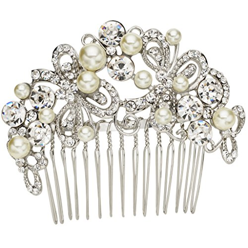 EVER FAITH Silver-Tone Austrian Crystal Ivory Color Simulated Pearl Charming Bowknot Hair Comb Clear