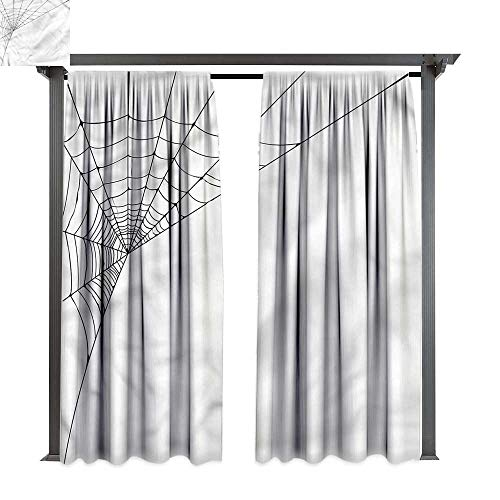 cobeDecor Thermal Insulated Drapes Modern Spider Web Icon Halloween for Lawn & Garden, Water & Wind Proof W108 xL96