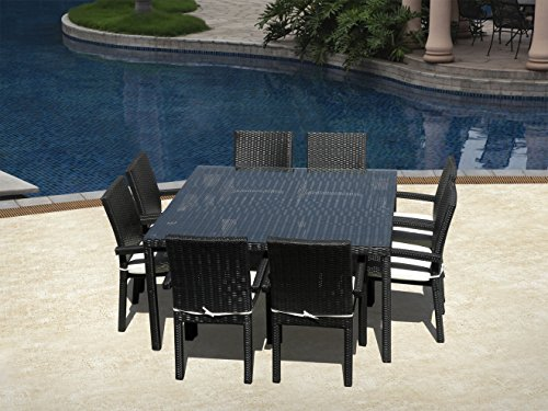 Outdoor Patio Wicker Furniture New All Weather Resin 9-Piece Dining Table & Chair Set
