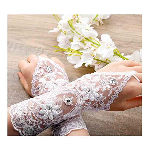 Olbye Women' Wedding Lace Gloves Bridal Fingerless Tulle Gloves Crystal Sequins Wrist Cuffs White Hook Finger Gloves (With bead)
