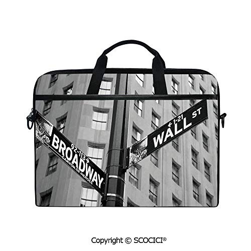 Personalized Laptop Bag 14-15 Inch Messenger Bag Street Signs of Intersection of Wall Street and Broadway Finance Art Destinations Photo Shoulder Sleeve Case Tablet - Broadway Messenger Canvas