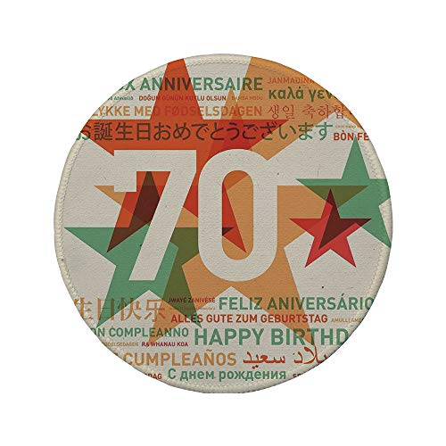 (Non-Slip Rubber Round Mouse Pad,70th Birthday Decorations,World Global Birthday Congrats with Abstract Stars,Light Green and Vermilion,7.87