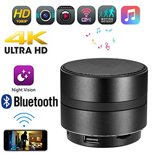 KAIXIANG [4K Hidden Spy Camera 1080 P] Bluetooth 4.2 Speaker with HD Sound/Micro SD Support/128G Capacity/10 M Bluetooth Range/Infrared for iPhone,Android,Pc,iPad
