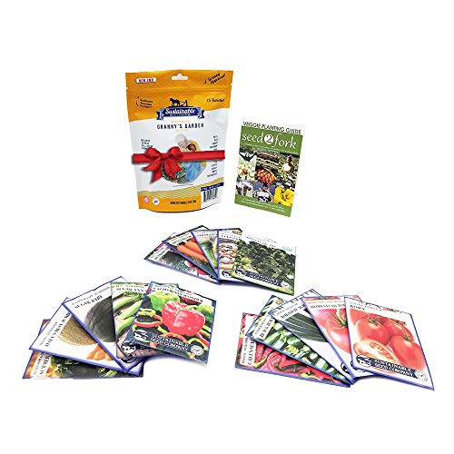 Planting Tomato Seeds - Granny's Garden Heirloom Vegetable Seed Collection, 15 Variety, Non GMO Heirloom Beet, Carrot, Cucumber, Basil, Kale, Lettuce, Melon, Onion, Pea, Pepper, Squash and Tomato Seeds