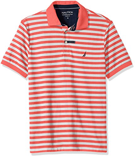 Nautica Men's Standard Classic Short Sleeve Stripe Polo Shirt, Dreamy Coral, Medium