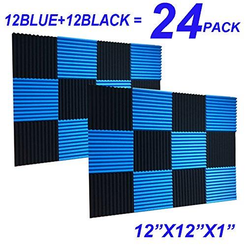 "24 Pack Black blue 1"" x 12"" x 12"" Acoustic Wedge Studio Foam"