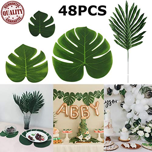 STSTECH Artificial Palm Leaves Monstera Faux Tree Fronds Simulation Leaf for Luau Hawaiian Moana Tropical Themed Party Decoration Birthday Table Gift Decorations,48PCS(4Kinds) ()