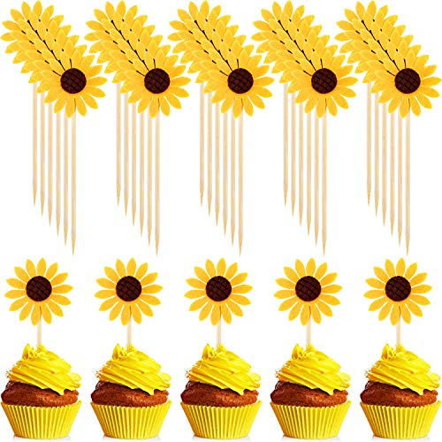 60 Pieces Sunflower Cupcake Toppers Cupcake Desserts Toppers Sun Flower Party Topper for Party Cake Decoration -