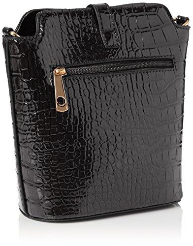 SwankySwansCharlotte Croc Patent Leather Shoulder Bag Black - Borsa a tracolla donna Black (Black)