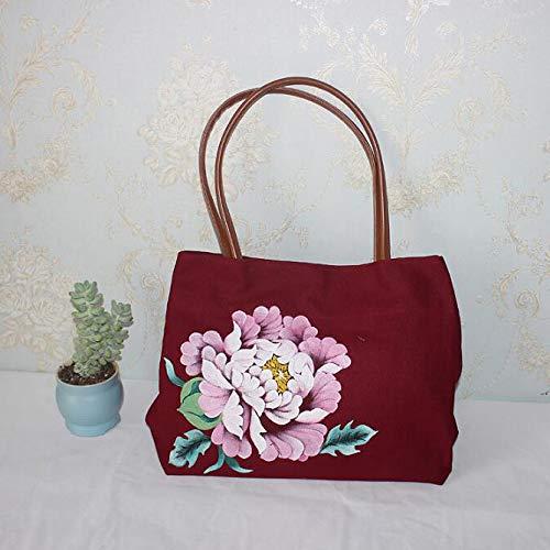 Para Mujeres Mujer Funciones Para Bolso De Bolso De Flores De Viaje Capacidad Lona Lona Mano De Múltiples Mano De De De Moda De Bolso Bolso Red Gran De x60Z8qFZw