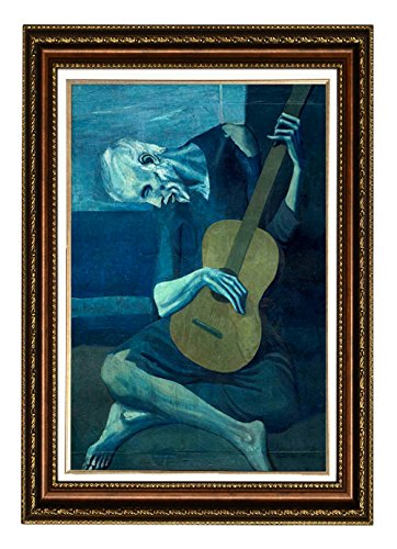 Eliteart-The Old Guitarist by Pablo Picasso Oil Painting Reproduction Giclee Wall Art Canvas Prints-Framed Size:26