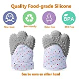 Teething Mitten for Unisex Babies and Infants, Silicone Teether Mitten Glove BPA Free, Self-Soothing Pain Relief, Teething Toy, Ideal Baby Shower Gift, 4 Colors Available(Gray)