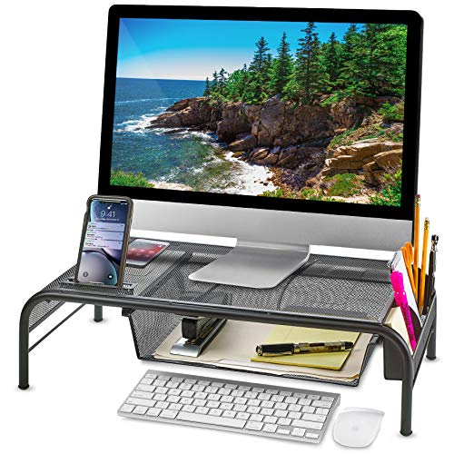 Monitor Stand Riser, Mesh Metal Desktop for Computer/Laptop TV Printer with Pull Out Drawer. New Design with Two Cellphone Slots. Two Compartments for Storage Organizer [Upgraded] by House Ur Home ()