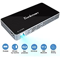 Thinkmart Mini Portable Projector for iPhone Android Support WIFI Bluetooth 1080P HDMI USB TF Card, A Rechargeable DLP Video Projector for Home Entertainment Games