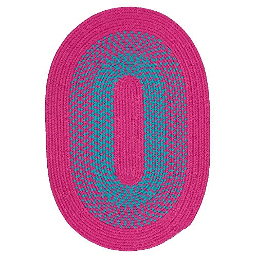 8' X 10' Oval Casual Soft Magenta Pink Color Indoor Kids Rug Stain Resistant Durable Hand Crafted Braided Style Vibrant Reversible Kids Play Rug Rose