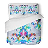SanChic Duvet Cover Set Boho Abstract Ethnic Ikat Pattern Traditional on the in Indonesia Asian Countries Geometric Decorative Bedding Set with Pillow Sham Twin Size
