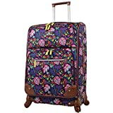 Lily Bloom Luggage 24'' Expandable Design Pattern Suitcase With Spinner Wheels For Woman (24in, Rake It In Black)