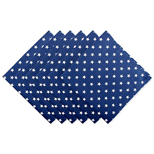 "UPC 738215387844, DII Oversized Cotton Napkin for Independence Day, July 4th Party, Summer BBQ and Outdoor Picnics - 20x20"", Navy Blue with White Patriot Stars, Set of 6"