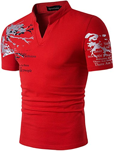 Sportides Mens Fashion V-Neck Henley Stand Collar Short Sleeve Shirt T-shirt Tops JZA100 Red (Stands Fashion T-shirt)