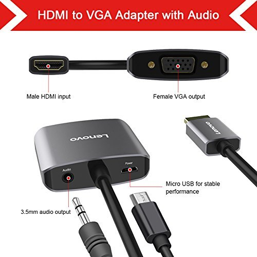 Lenovo HDMI to VGA Adapter with Audio, Gold-Plated 1080P Active HDMI to VGA Converter with Micro USB and 3.5mm Audio Port for PC, Laptop, DVD, HDTV, PS3, PS4 and More