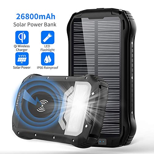 Solar Charger 26800mAh, Qi Wireless Portable Solar Power Bank with 4 Outputs & Dual Inputs Type-C, Waterproof External Backup Battery Pack with 18 LED Flashlight for Smart Phone, Tablets, Outdoor