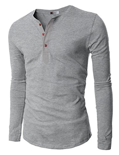 H2H Mens Henley T-shirts with Long Sleeve, Gray, US S (Asia M) -
