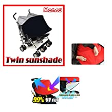 [Manito] New Twin Sunshade / Sunshade for Twin Baby stroller, Pushchair, and Car Seat, Wide Sunblock, UV Cut, Universal and easy installing (Black)