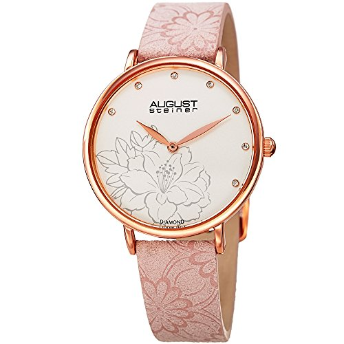 - August Steiner Diamond Studded Dial Women's Watch - with Floral Embossed Blushed Pink Genuine Leather Bracelet Band - Flower Print Dial - AS8242BL
