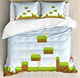 Lunarable Boy's Room Duvet Cover Set Queen Size, Digital Cartoon Pixel Landscape Retro Arcade Gaming Theme Climb Run, Decorative 3 Piece Bedding Set with 2 Pillow Shams, Pale Blue Green Brown