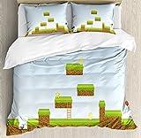 Lunarable Boy's Room Duvet Cover Set Queen Size, Digital Cartoon Pixel Landscape Retro Arcade Gaming Theme Climb Run, Decorative 3 Piece Bedding Set with 2 Pillow Shams, Pale Blue Green Brown