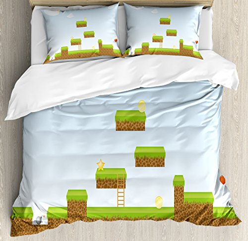 Lunarable Boy's Room Duvet Cover Set Queen Size, Digital Cartoon Pixel Landscape Retro Arcade Gaming Theme Climb Run, Decorative 3 Piece Bedding Set with 2 Pillow Shams, Pale Blue Green Brown by Lunarable