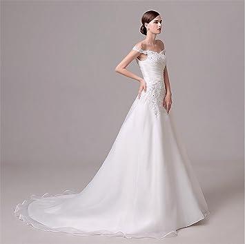 HAPPYMOOD De las mujeres Vestido de novia Encaje con cuentas Vestidos de novia Novia Fuera del