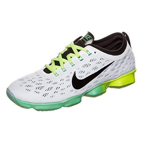 NIKE Womens Zoom Fit Agility Low Top Lace Up Running Sneaker White/Green Glow/Black