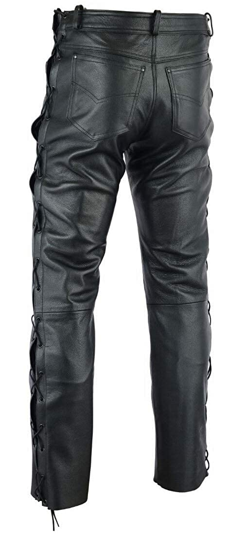 Gaudi-Leathers Mens Motorcycle Motorbike Biker Leather Lace Sided Jeans Trousers in Black