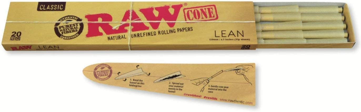 RAW Classic Natural Unrefined Pre Rolled Cones - 20 Cones Per Pack ...