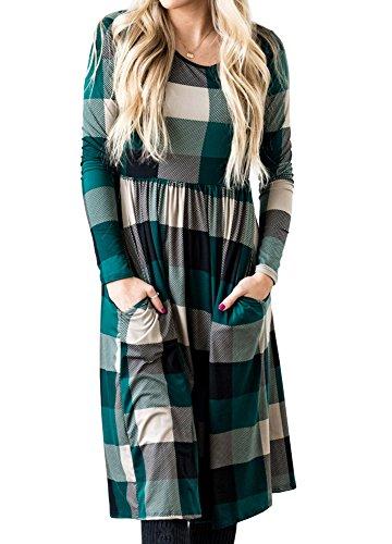 Plaid Empire Dress (Womens Dresses Long Sleeve Empire Waist Patch Buffalo Plaid Pocket Midi Dress,Medium,Green)
