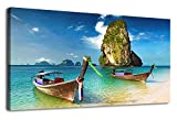 Large Canvas Art Beach Boat Wall Decor Long Canvas Artwork Phuket Island Nature Picture Seascape Painting Contemporary Wall Art for Living Room Bedroom Bathroom Kitchen Office Home Decoration 20''x40''