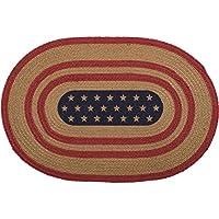 VHC Brands Seasonal Americana Flooring-Liberty Stars Red Flag Oval Jute Rug, 18 x 26