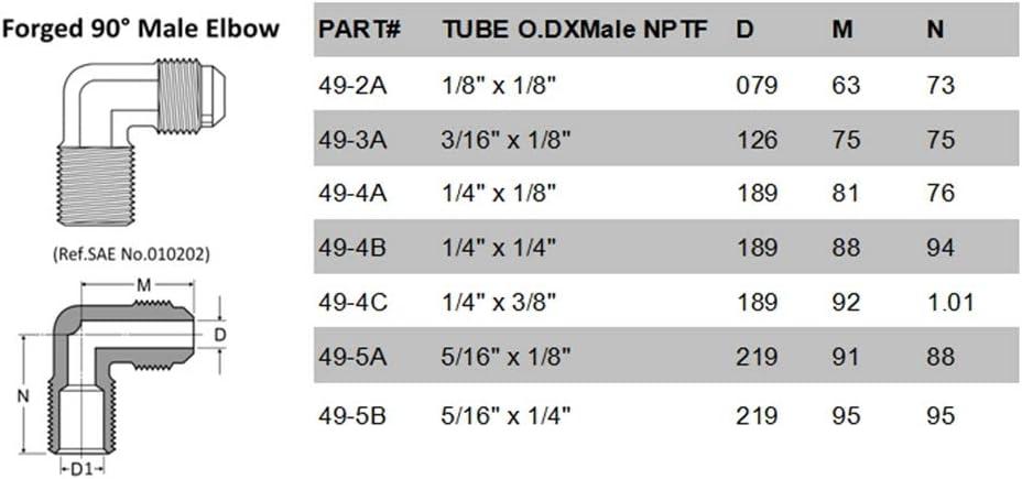 2pcs SAE Flare Tube OD 1//83//16 1//45//16 et 1//81//4 3//8 NPT m/âle en Laiton Raccord de Tuyau Forged 90 degr/és Homme coude Size : 49 2A Without brand CCH-RUANGUAN