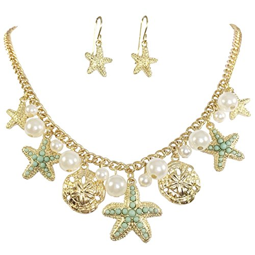 Dainty Starfish Charm Imitation Pearl Dangle Gold Tone Statement Necklace Earring Set (Mint Green)