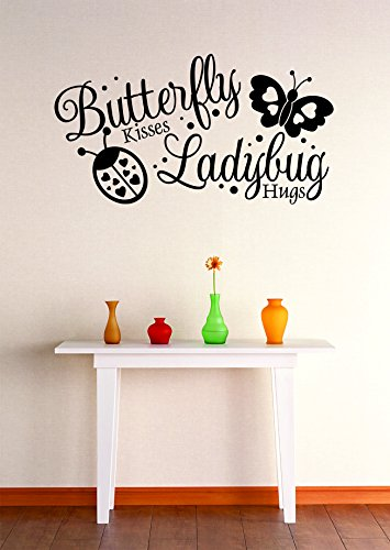 Design with Vinyl Zzz 9411 Butterfly Kisses Ladybug Hugs Stylish Wall Decal Home Decoration Picture Art, 12 x 18-Inch, Black ()