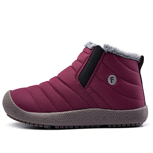 Z.SUO Girl Boy Unisex-Child Snow Boots Winter Anti-Slip Ankle Booties Outdoor Slippers Slip On with Warm Fully Fur Lined (Little Kid/Big Kid (12-12.5 M US Little Kid, Rose Red) by Z.SUO (Image #3)