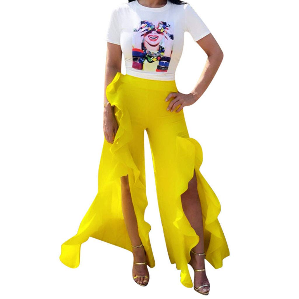 WONdere Women's Casual Shorts Short Sleeve T-Shirt Broad-Legged Trousers Nightwear Set