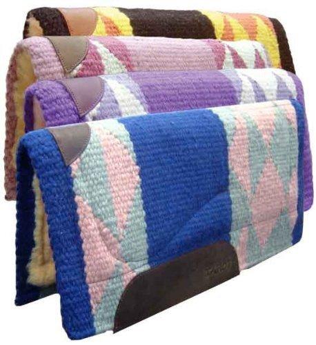 Tahoe Tack Diamond Pony Saddle Blanket Pad with Fleece Lining 24 X 24 - Black/Orange/Yellow (Diamond Fleece Blanket)
