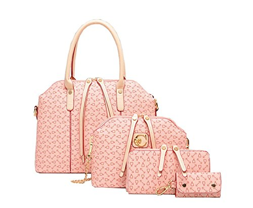 BG Women Printing 4 Pieces in a Lot Simple Design Purse Pink High-end Leatherette Shoulder Handbags Clutches