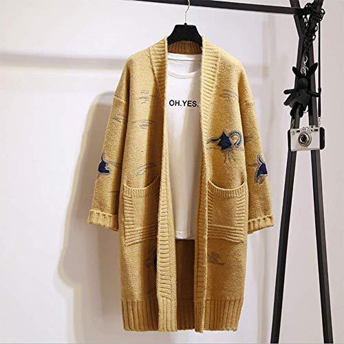 La Suelto Suéter Larga En Suéter Versión onesize 4 Abrigo El Las Cardigan 5 V Invierno Coreana Otoño De Mujeres Y Bordado Sección Escote wwxUgHvAq